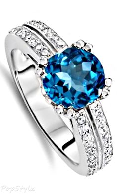 7mm Genuine Blue Topaz Engagement Ring