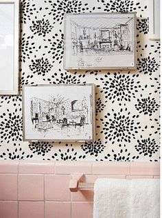 Albert Hadley Fireworks wallpaper // Makes pink tile work