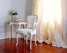 Louis XV inspired Side Chair and End Table   Layered White Finish and Gilded Edging   Regent Collection from Ave Home