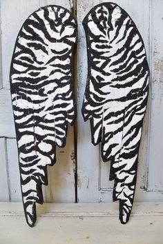 Large wooden wings hand painted zebra print by AnitaSperoDesign, $225.00