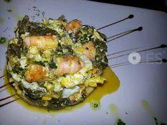 Revuelto de grelos con langostinos del restaurante tapería vinoteca Tio Chan en Vigo