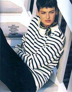 Breton top /Linda Evangelista in Elle US August 1989 Gilles Bensimon) /