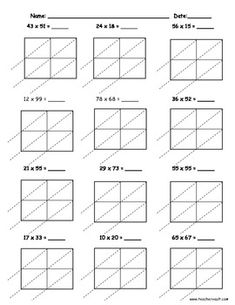 Lattice Multiplication 2 digit by 1 digit - 10 pages | 10 ...