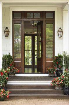 Wooden Front Door with Sidelights
