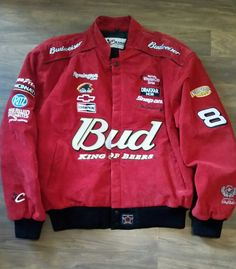 CHASE AUTHENTIC BUD BUDWEISER NASCAR DALE EARNHARDT JR #8 RED LEATHER JACKET LG   Clothing, Shoes & Accessories, Men's Clothing, Coats & Jackets   eBay!