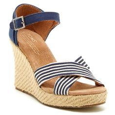 TOMS University Strappy Wedge Sandal Adorable tan and blue wedge TOMS. BNIB Super cute and versatile, can be worn with so much during the spring and summer! TOMS Shoes Sandals
