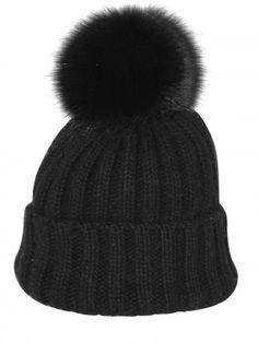 Bun Black Ribbed Wool Fox Fur Beanie Hat