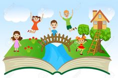 Open Book With Children And Summer Landscape, Vector Illustration Royalty Free Cliparts, Vectors, And Stock Illustration. Kindergarten Classroom Setup, Classroom Decor, Class Decoration, School Decorations, Drawing For Kids, Art For Kids, Photos Booth, School Frame, School Murals