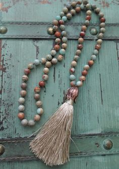 Knotted tassel necklace  'Duster  in Sand ' earthy by slashKnots, $115.00