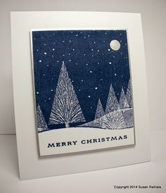 simple blue and white winter card