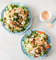 Crunchy Buffalo Chicken Salads with Bacon and Spicy Ranch
