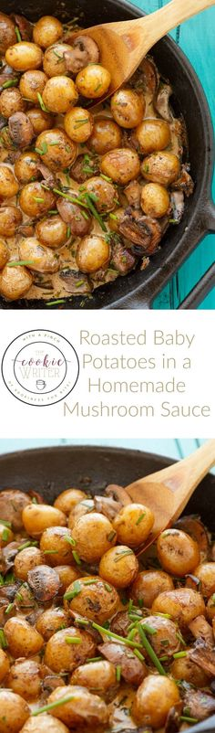 Roasted Baby Potatoes in a Homemade Mushroom Sauce | http://thecookiewriter.com | @thecookiewriter | #side