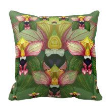 Epipactis helleborine throw pillows