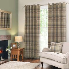 Finley Check Green Eyelet Curtains | Dunelm