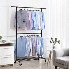 Metal Clothes Rack, Clothes Drying Racks, Hanging Clothes, Industrial Clothes Racks, Rolling Clothes Rack, No Closet Solutions, Pipe Rack, Rustic Apartment, Hanger Rack