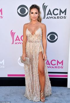 Lovely:Jessie James fired up the arrivals at the 52nd annual Academy Of Country Music Awards in Las Vegas on Sunday