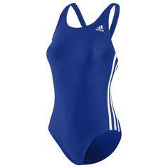 Frauen Authentischer 3-Stripes einteiliger Badeanzug, Cobalt/White, zoom
