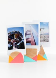 Who needs full on frames when you can DIY these cute little geometric photo holders! You'll only need a few tools. Click through for the tutorial from Rachel at The Crafted Life. || @thecraftedlife