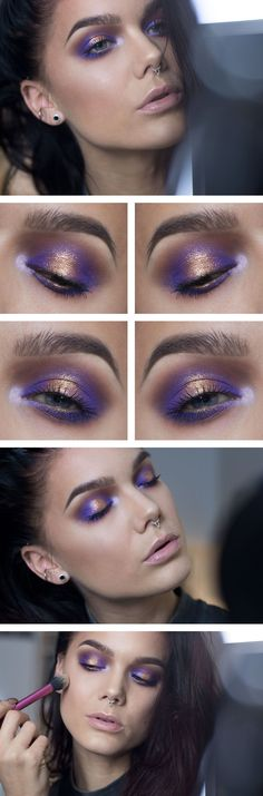 purple and gold eye make up (by Linda Hallberg)! Makeup Goals, Love Makeup, Makeup Inspo, Makeup Art, Makeup Tips, Beauty Makeup, Hair Makeup, Makeup Ideas, Makeup Eyeshadow