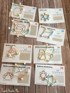 marshmallow and toothpick geometry. Downloadable cards. Helps kids learn their 3-D shapes!