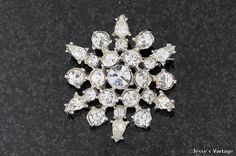 Vintage Snowflake Brooch w Crystal Clear by JessesVintage on Etsy, $9.99