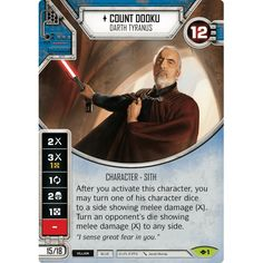 Star Wars Destiny Way of the Force w/Die Count Dooku: Darth Tyranus Count Dooku, Great Fear, Baseball Cards