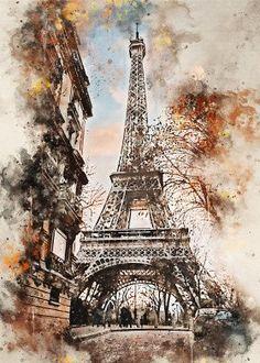 Paris in Watercolor - Barris Gumbley Watercolor City, Watercolor Sketch, Watercolor Artists, Watercolor Landscape, Watercolor Illustration, Landscape Art, Watercolor Paintings, Easy Watercolor, Architecture Drawing Art