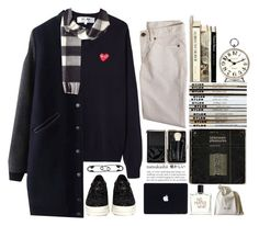 """""""I Think I'll Stay Here"""" by jasminekt ❤ liked on Polyvore featuring J.Crew, Newgate, Liaison De Parfum, Bobbi Brown Cosmetics, Play Comme des Garçons, CÉLINE, Burberry, Other, Pedder Red and black"""