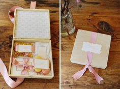 adorable wooden cigar type box as welcome box container...great for storing contents you do not want to have crushed