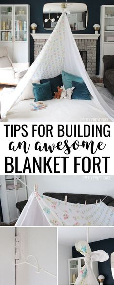 fort ideas indoor Tips and tricks for how to build the best blanket fort ever! Grab some sheets, blankets, clothes pin and other household items and use these ideas to make an awesome fort! Sleepover Fort, Fun Sleepover Ideas, Indoor Tent For Kids, Indoor Forts, Kids Tents, Indoor Camping, Living Room Fort, Living Rooms, Sheet Tent