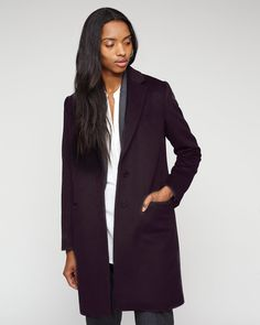 Jigsaw Single Breasted Wool Coat in Plum, £249. This coat is such a lovely shade.