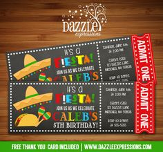 Printable Chalkboard Fiesta Ticket Birthday Invitation | Taco | Digital File | Kids or Adult Birthday Party Idea | FREE thank you card | Party Package Available |  Banner | Cupcake Toppers | Favor Tag | Food and Drink Labels | Signs |  Candy Bar Wrapper | www.dazzleexpressions.com