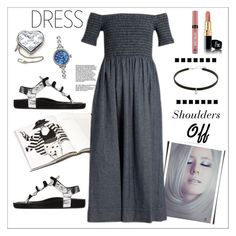 """""""Shoulders Off - Dress*"""" by biange ❤ liked on Polyvore featuring Isabel Marant, Louis Vuitton, Shinola, Victoria's Secret, The Great and offshoulderdress"""