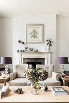 William armchair and edinburgh coffee table traditional decor спальня, гост Decor, Living Room Inspiration, Living Room Designs, Interior, Purple Living Room, Lilac Living Rooms, Home Decor, Sage Living Room, House Interior