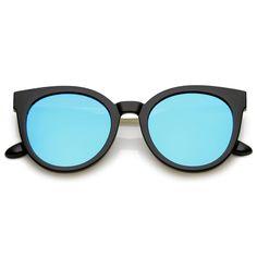 Classic Horn Rimmed Cat Eye Sunglasses Round Color Mirrored Flat Lens 53mm  #sunglass #frame #sunglasses #mirrored #bold #summer #cateye #clear #sunglassla #purple