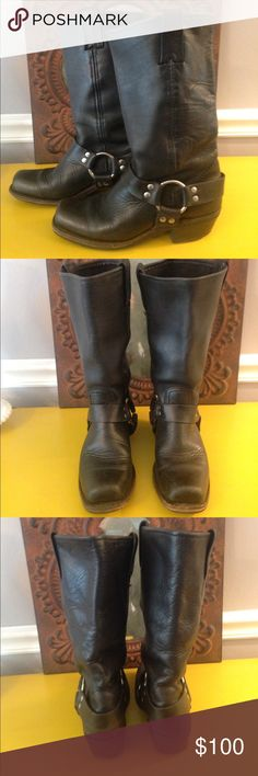 $ FIRM GOOD COND BLACK FRYE HARNESS BOOT SZ 6 F11 PRICE FIRM!!!!!! BLACK FRYE HARNESS BOOT SIZE 6M. This boot has been worn for a season and is in good condition. The boot does show some signs of wear on heel and toe. Please zoom in by tapping on pic one time and then it will allow you to enlarge! Great deal and great boot!!!! If you know your FRYE brand...they stay in style and never wear out!:) (F11) Frye Shoes Winter & Rain Boots