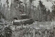 An abandoned sherman tank in the Bastogne area. 1945
