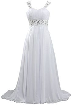 ANTS Womens Long Chiffon Beach Wedding Dresses 2016 Cap Sleeves Size 20W US White >>> Click image to review more details.
