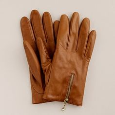 Glazed Pecan Leather Zip Gloves from J.Crew. I literally have dreams about these...