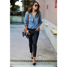 Denim Turn-down Collar Long Sleeves Slim Blouse (57 BAM) via Polyvore featuring tops, blouses, slim denim shirt, slim fit long sleeve shirt, slim fit denim shirt, slim shirt and denim long sleeve shirt