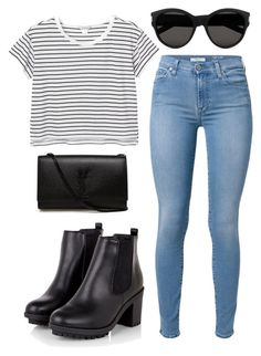 """Untitled #170"" by omgitskaylapope on Polyvore featuring Yves Saint Laurent, Monki and 7 For All Mankind"