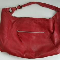 Sale! Nina Bossi hobo bag Bright red hobo bag, delicate and squishy and holds plenty! Minor discoloration on back of back. Bags Hobos