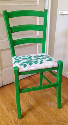 Green Distressed Wood Chair with Felted by RainasTextileHouse, $220.00