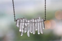 White crystal necklace Raw crystal necklace by VermeerJewellery                                                                                                                                                                                 More