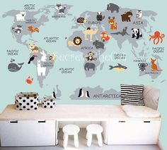 Wall Print Mural Map Of The World With Animals 300cm H X 4m W 8