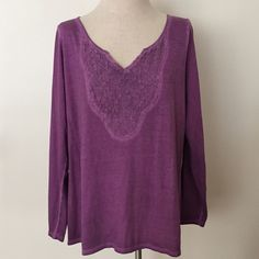 I just discovered this while shopping on Poshmark: weathered purple lace vneck. Check it out! Price: $15 Size: 1X, listed by renee_krista