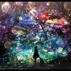 As one's mind is a whole made of shards, I travel in my dreams — I travel in my world. Art And Illustration, Illustrations, Anime Galaxy, Galaxy Art, Fantasy Kunst, Fantasy Art, Manga Art, Anime Art, Anime Kunst