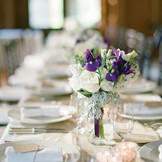 Light splash of purple in group of white flowers