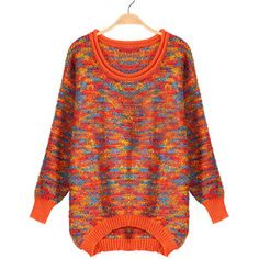 Dipped Hem Loose Orange Sweater
