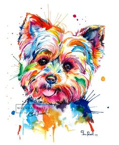 Colorful, Yorkshire Terrier Art Print - Print of my original Yorkie watercolor painting - * Watermark (best day of the week logo) does not appear on your print! Is Yorkie your favorite? Pop Art, Yorkshire Terrier Puppies, Terrier Dogs, Dog Paintings, Colorful Paintings, Watercolor Paintings, Painting Art, Painting Tattoo, Watercolor Animals